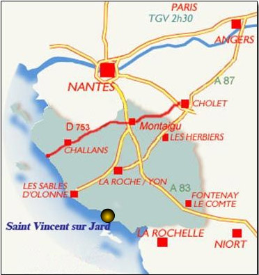 Plan d'accès Saint-Vincent-sur-Jard